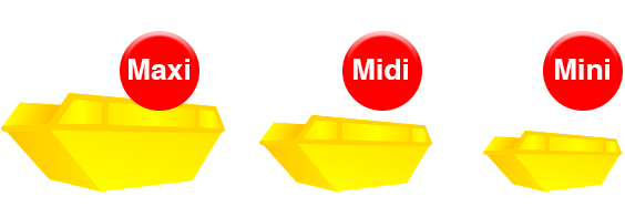 Maxi midi and mini skips for hire